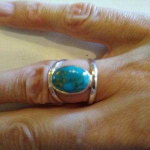 Boho Southwest sterling silver turquoise ring sz6